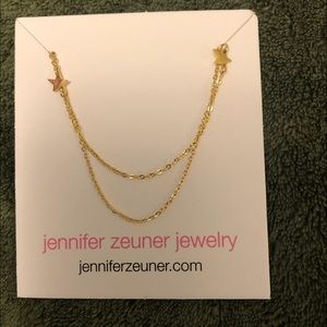 Jennifer Zeuner Gold Double Star necklace NEW